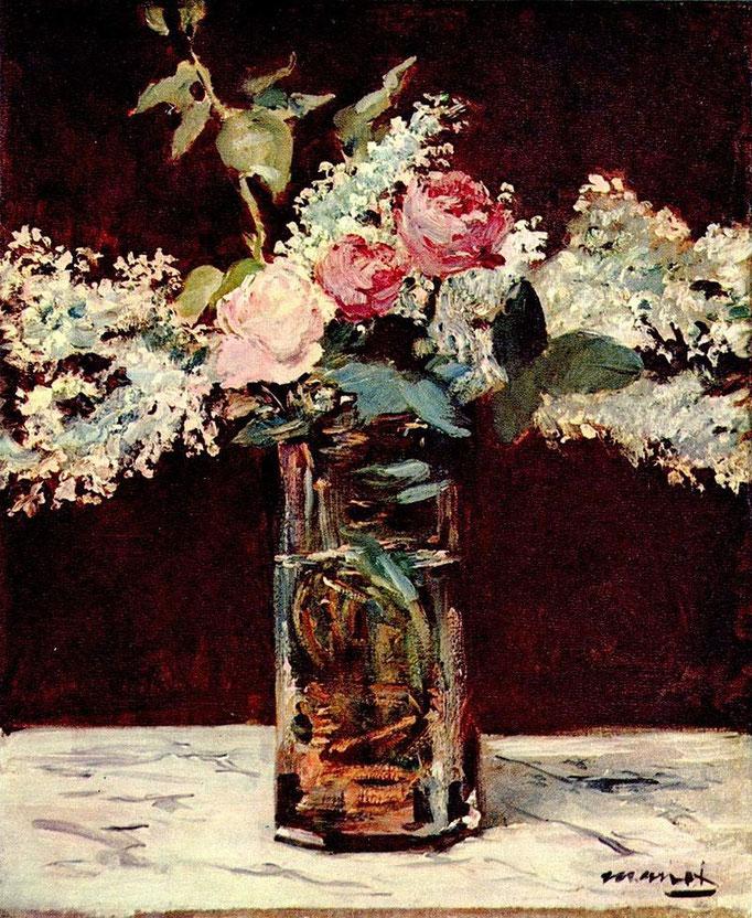 """""""Lilas et roses"""", Edourd Manet, 1883, huile sur toile, 54 x 45 cm,  collection privvée New York, Wikimédias Commons"""