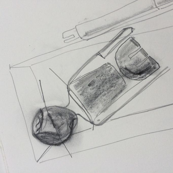 Bleistiftzeichnung, Puppe 2