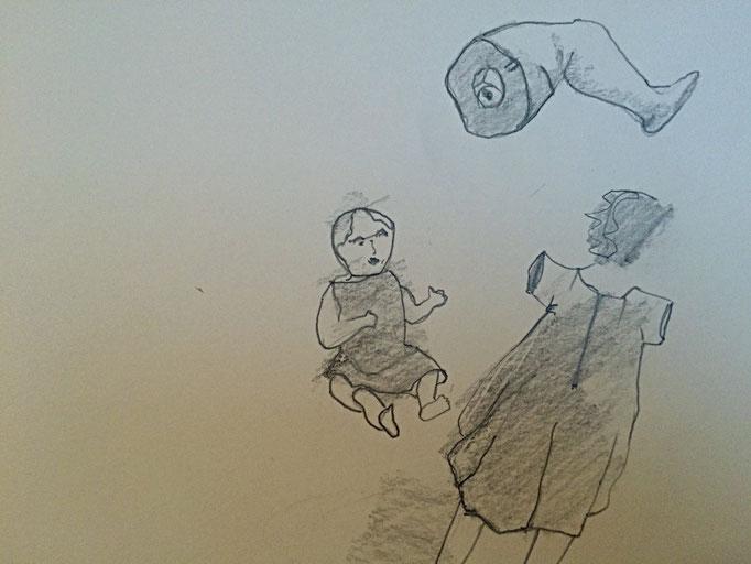 Bleistiftzeichnung, Puppe 1