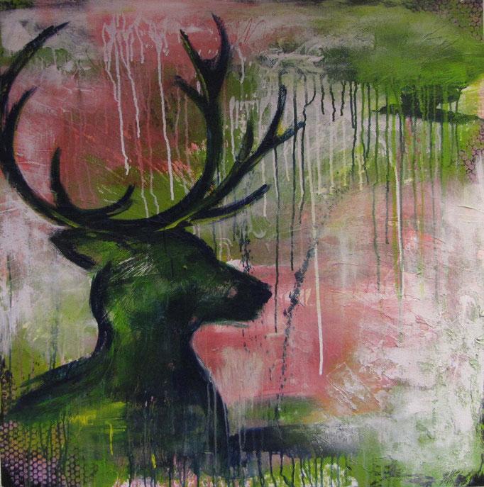 Platzhirsch, 2014 100 x 100 cm (verkauft)