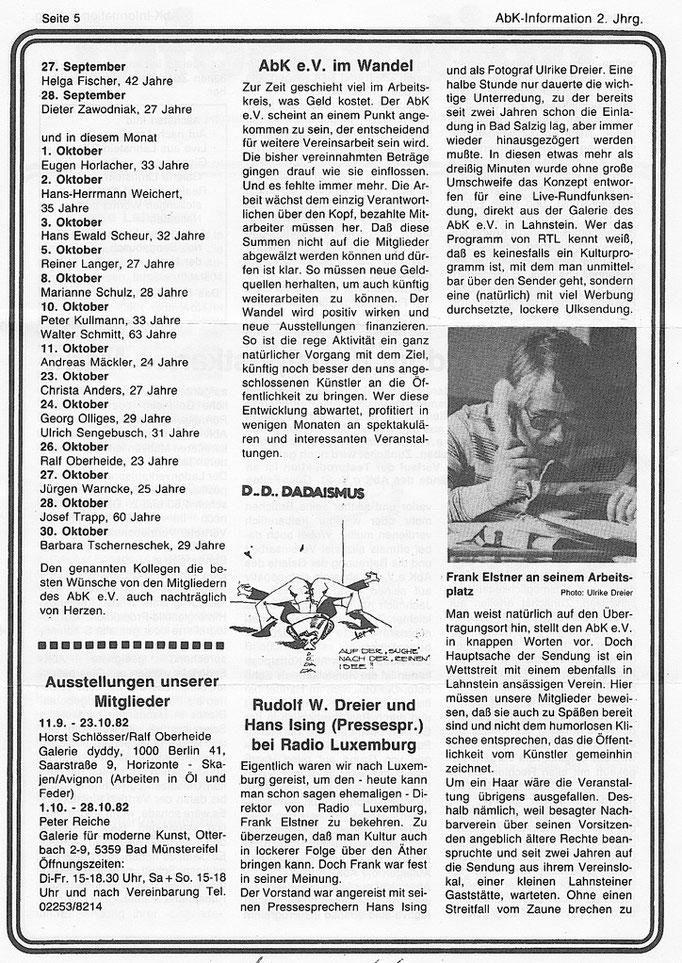 Zeitungausschnitt mit Frank Elstner, damals noch bei RADIO Luxemburg tätig!