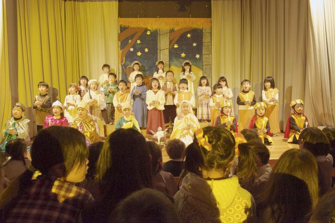 クリスマス会。4.5歳児降誕劇
