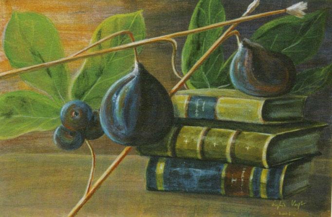 Prunes aux pinceaux- livres - 30x40 - 2005