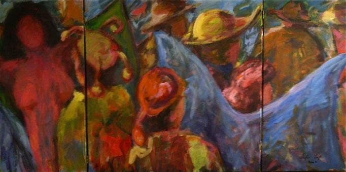 Triptyque Sortie des artistes - (40x80)(80x80)(40x80) - 2007