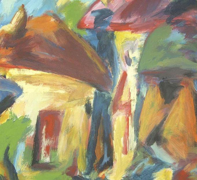 Maisons habitées et 1 homme - 40x40- 2008