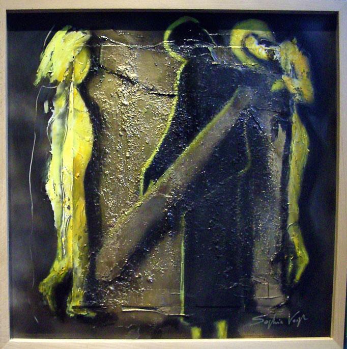 Passant doré - Collage et acryl - 30x30 - 2012