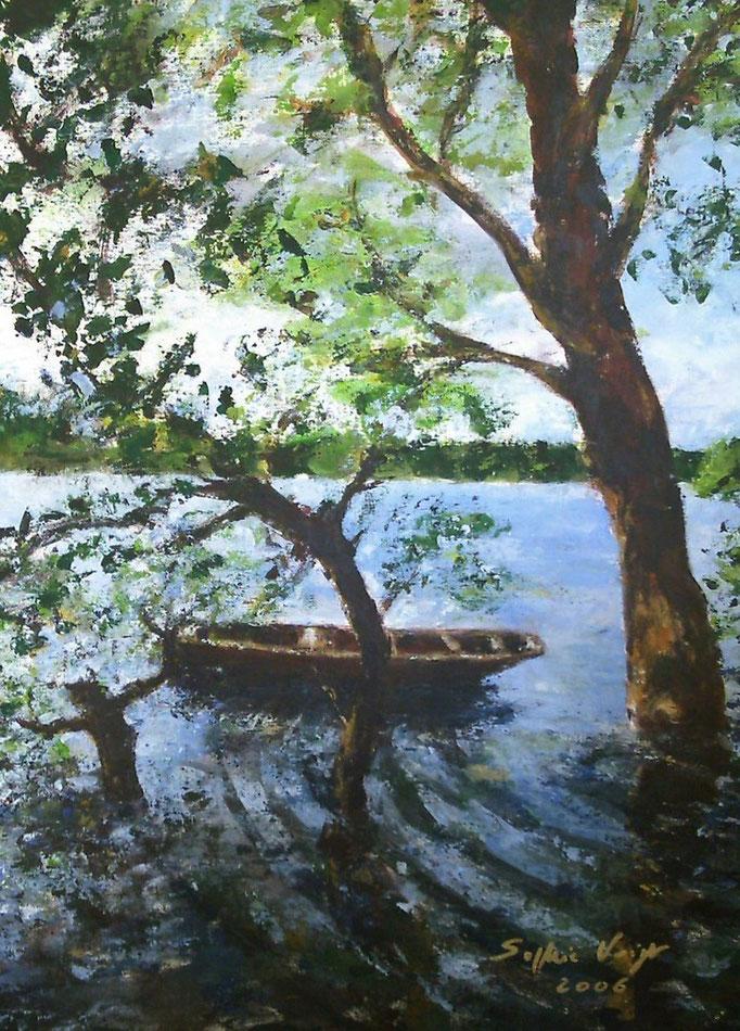 Barque au bord du Lac - Eingerahmt auf Spanplatte - 2010