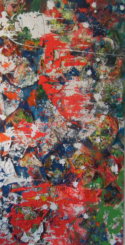 Palettes en folie - 200x100 - 2015- Acryl- Malpaletten- Sprays- Kaffee- 2015