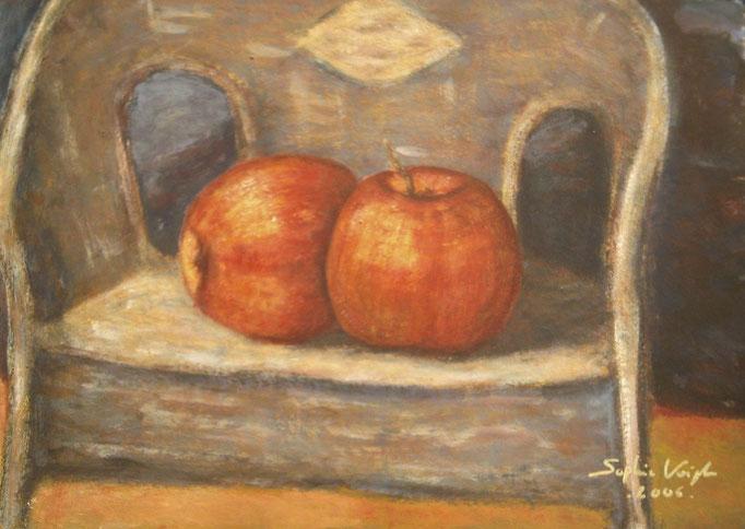 Pommes sur la chaise d'enfant - 60x80 - eingerahmt auf Papier - 2007