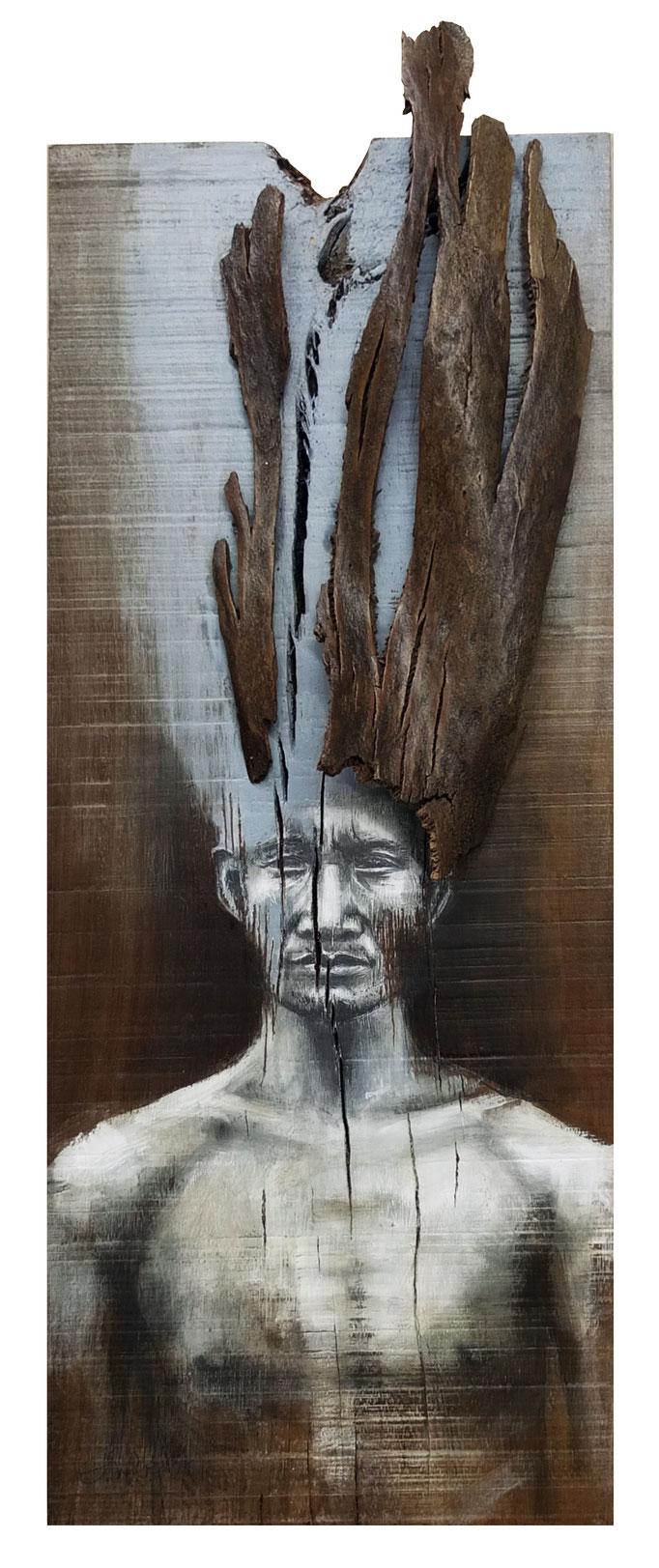 Le veilleur des cimes / 2017 / argile bleue-écorce eucalyptus-graphite-acrylique-brou de noix / Dim: H:85 L:31 (vendu)