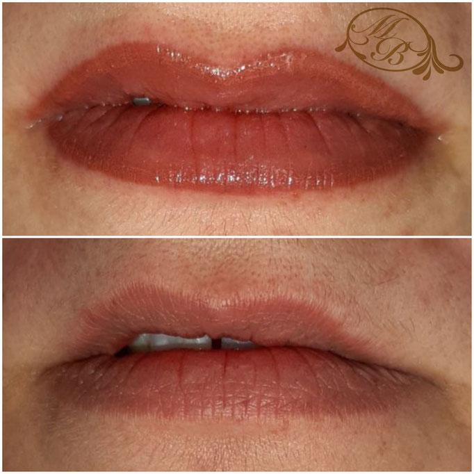 Lippenkontur-Korrektur mit Aquarell-Schattierung