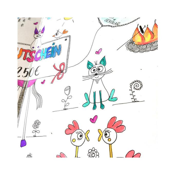 Gutscheingestaltung, Illustration, Auftragskarte, Auftragsarbeit