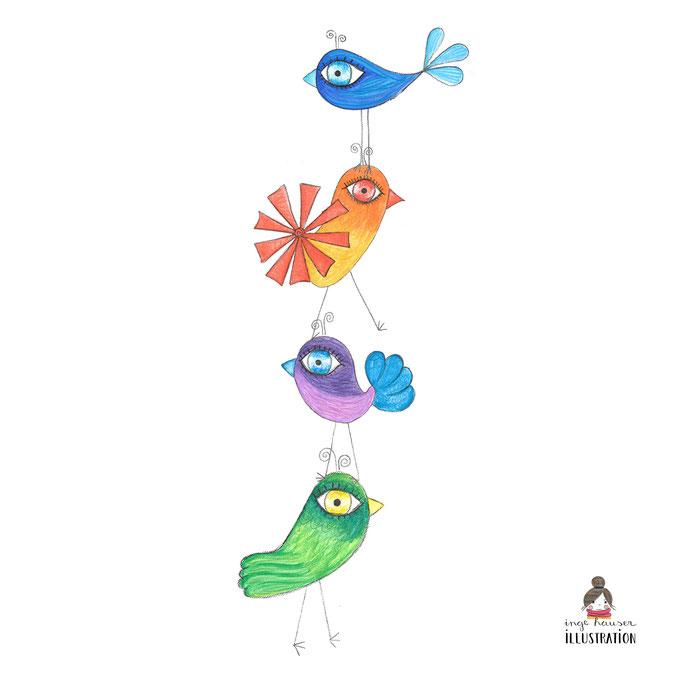 Meine illustrierte Vogelwelt, Illustration, Design,