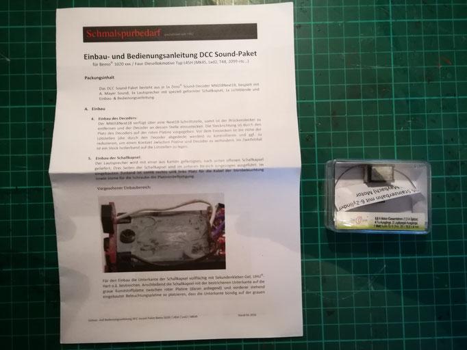 Schallkapsel, Sounddecoder und eine leicht verständliche Anleitung wurden von www.schmalspurbedarf.de mitgeliefert.