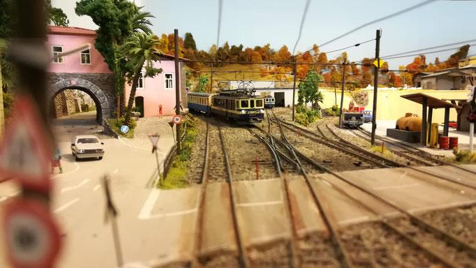 Einfahrender Regionalzug. Der Fotograf befand sich auf dem Bahnsteig zwischen den beiden Gleisen.