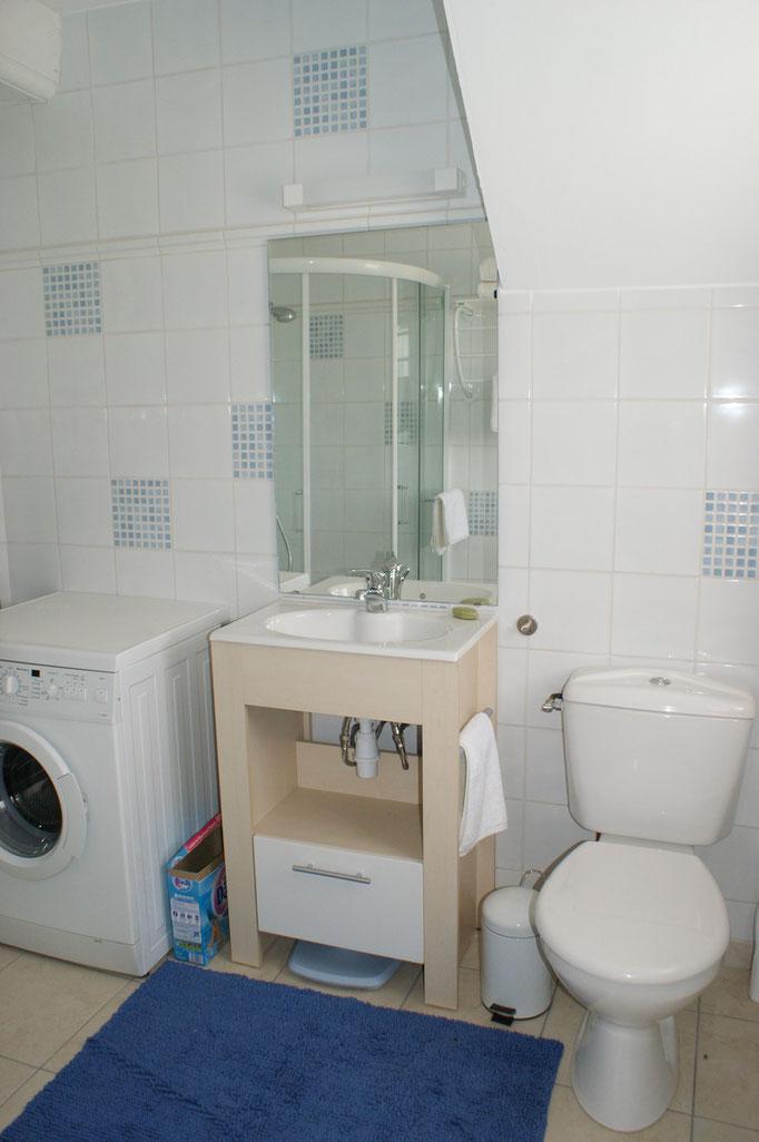 Salle de douche bleue