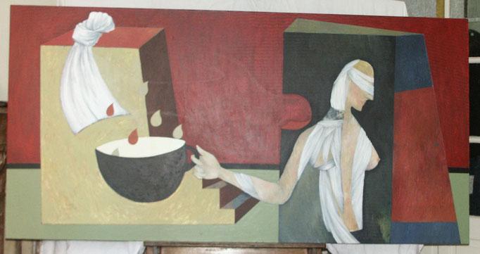 """""""Nausée"""", 195x97, acrylique, pastel gras, mine de plomb sur toile ©"""