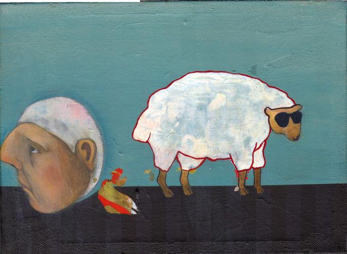 """""""sans titre"""", 33x24, acrylique, tempera, collage sur toile ©"""