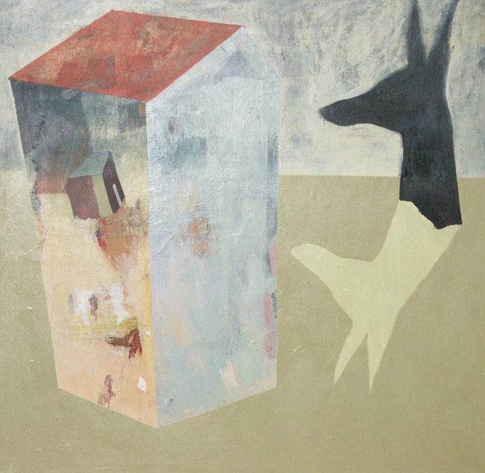 """""""sans titre"""", 100x100, acrylique et collage sur toile ©"""
