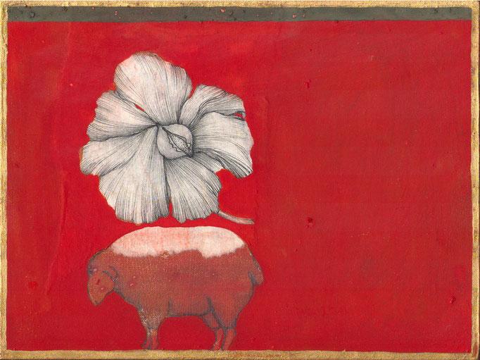 """""""sans titre"""", 21x18, tempera, collage,encre noire sur bois ©"""