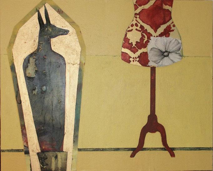 """""""sans titre"""", 100x81, acrylique, pastel gras, tempera, collage sur toile ©"""