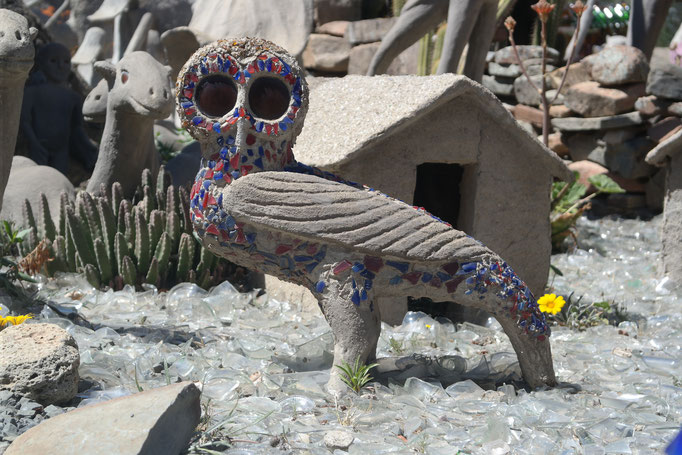 A sculpture of an owl in the garden of the Owl House, Nieu-Bethesda, South Africa.