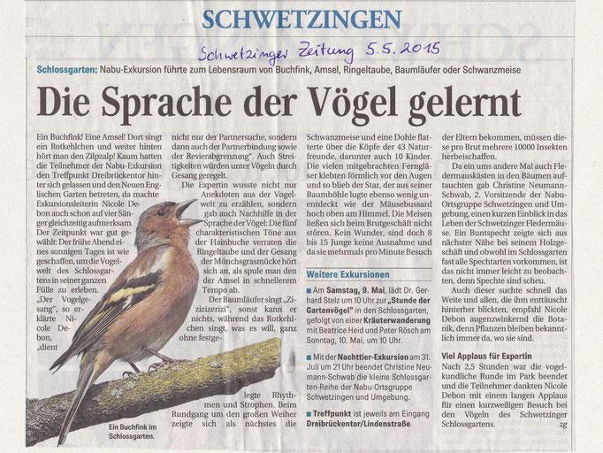 Zeitungsartikel in der Schwetzinger Zeitung