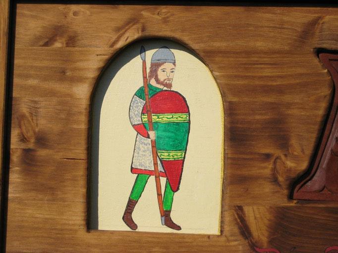 Bemalt mit einem Krieger aus dem Kirchenfenster St. Patrokli Soest, um 1166- abgewandelt