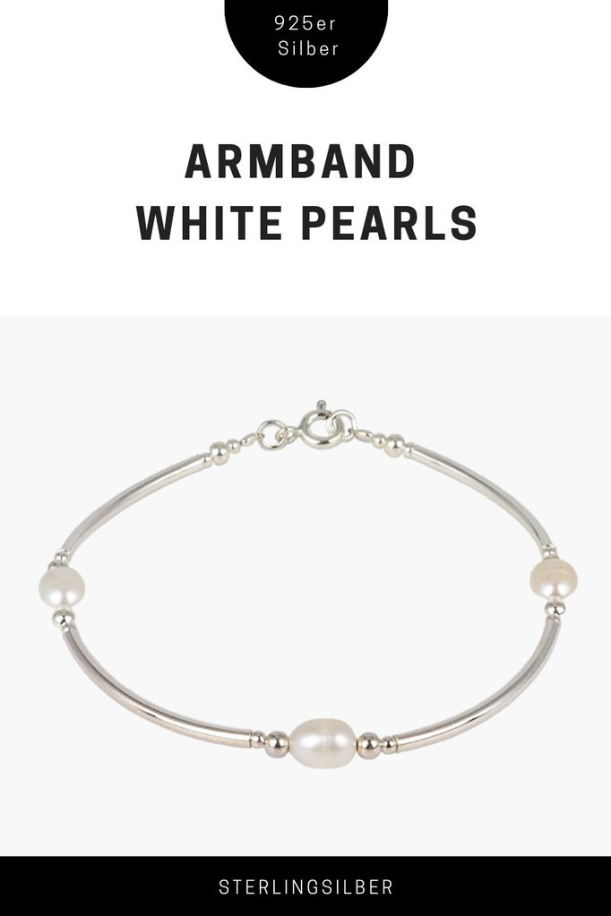 Armband White Pearls