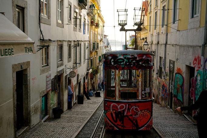 mit der Standseilbahn geht es hoch in den Stadtteil Bairo Alto/ Lissabon