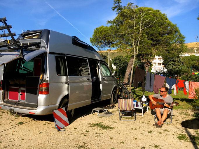 Camping in Costa da Caparica, Portugal
