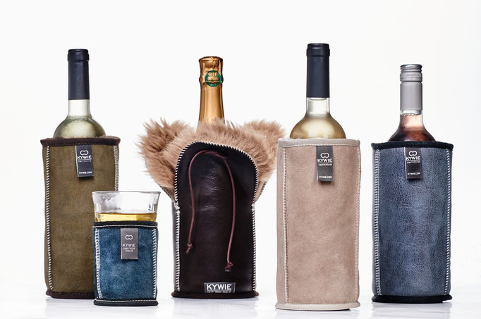 Champagner- oder Weinkühler Leder/Schafffell