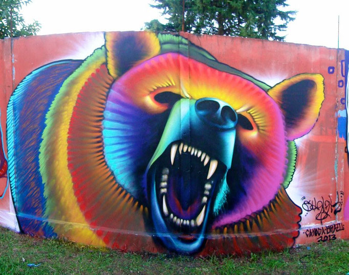 """Osso Rabioso""  Graffiti by Shalak. At the Encontro Street of Styles in Curitiba, Brazil. 2013"