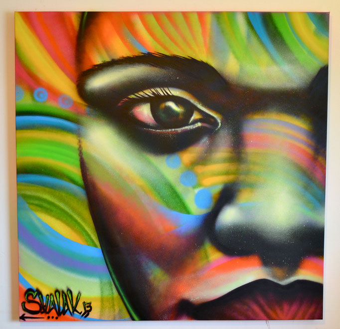 """""""Niña Colorida"""" By Shalak  Spraypaint on Canvas (4ft x 4ft) 2013  (Original available on Shalak Attack's ONLINE STORE)"""