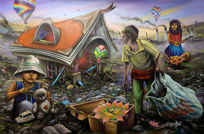 """""""Have Faith, for even in the dumpsters flowers grow """", Acrylic + Spraypaint on Canvas, (8ft x 12ft), 2017, Available- Streetart of Mankind- 50% donated to the Kailash Satyarthi Foundation to aid children from slavery. Exhibited at United Nations (NYC)"""