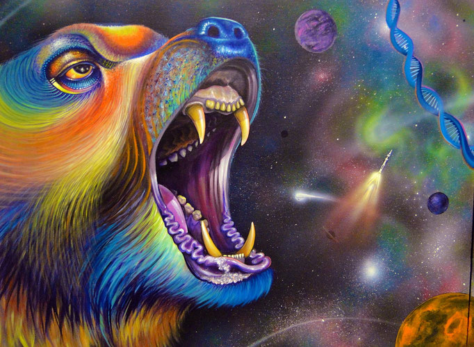 """""""There is no more place like home - Bear """" by: Shalak Attack Acrylic on II Canvases 2014, Toronto  (Original available for Purchase)"""