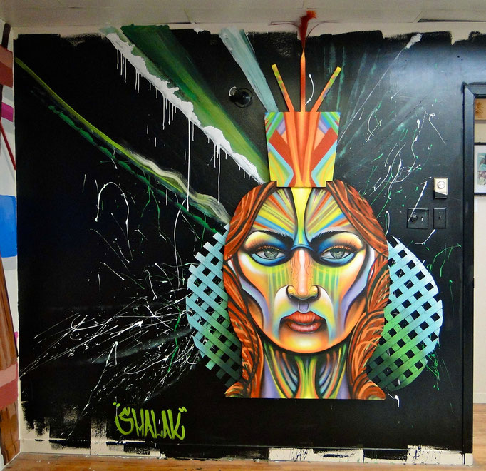 """""""Portrait"""" By Shalak, Spraypaint on wood and mixed media, 2013, for mural installation at the Under Pressure Gallery in Montreal (Original available for Purchase)"""