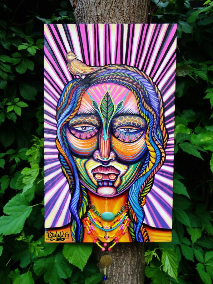 InnerIlluz Spiritmask By: Shalak.  Acrylic and magic jewel necklace on Canvas (30cm x 50cm) 2012. (Original available on Shalak Attack's ONLINE STORE)