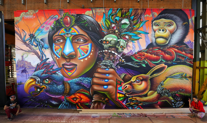 A Clandestinos Collaboration (Shalak Attack and Bruno Smoky), 20ft x 40ft, Spraypaint on Canvas, 2017, on Permanent Exhibit at the Street Art Today Museum in NDSM, Amsterdam, Holland