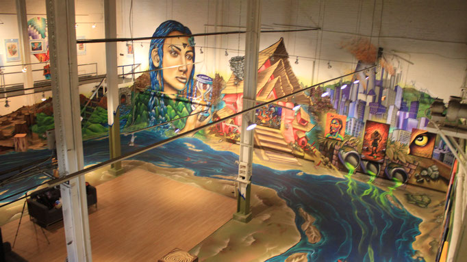 """Details of the """"MERGING"""" Exhibit by the Clandestinos (Shalak and Smoky) in Graffiti Gallery, Winnipeg, Canada, 2016"""