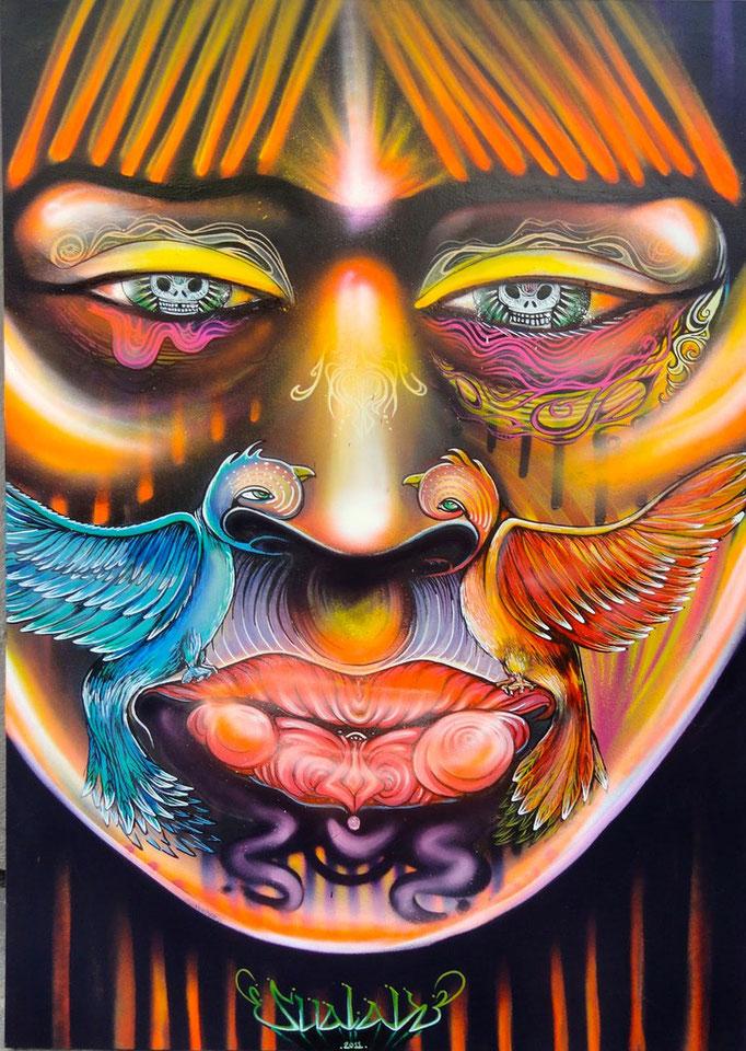 """""""Espiritu""""  by Shalak.  Mixed media on canvas. 2011.  (Available - Brazil)"""