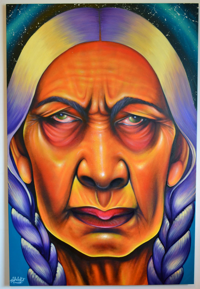 """""""SOL"""" By Shalak Attack, Spraypaint, oil and acrylic on Canvas 40"""" x 60"""" (2013-14)  (Original available for Purchase -  Currently being exhibited at the City Hall Toronto Public Library for the Pan-American Games)"""