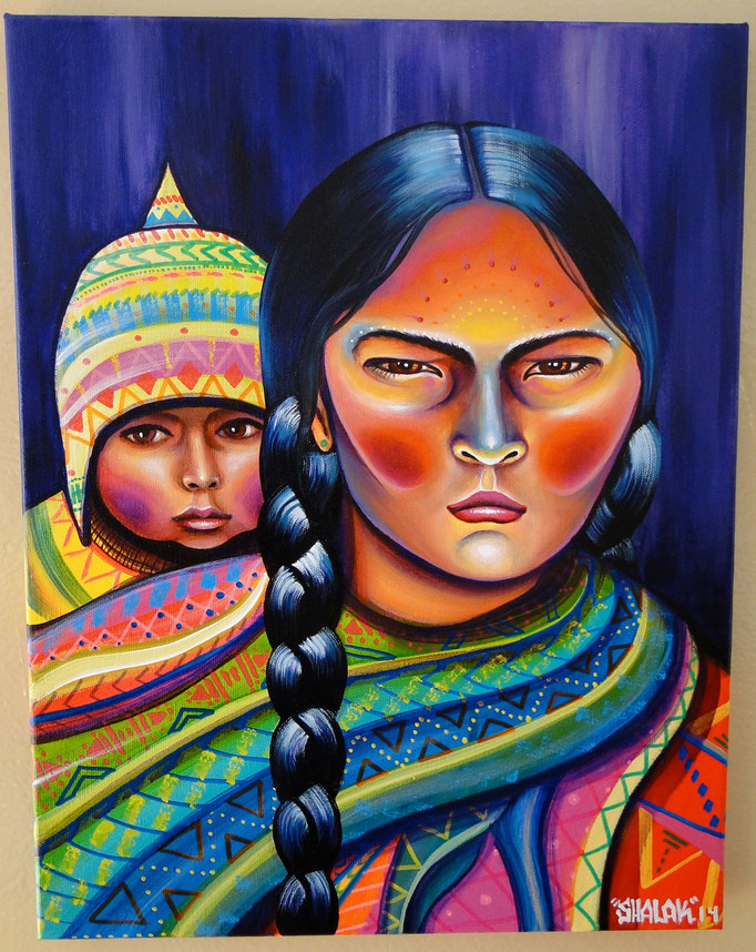 """""""Mama y Wawa"""" by Shalak Attack, Acrylic, 2014, Canada (Commissioned by Private Collector)"""