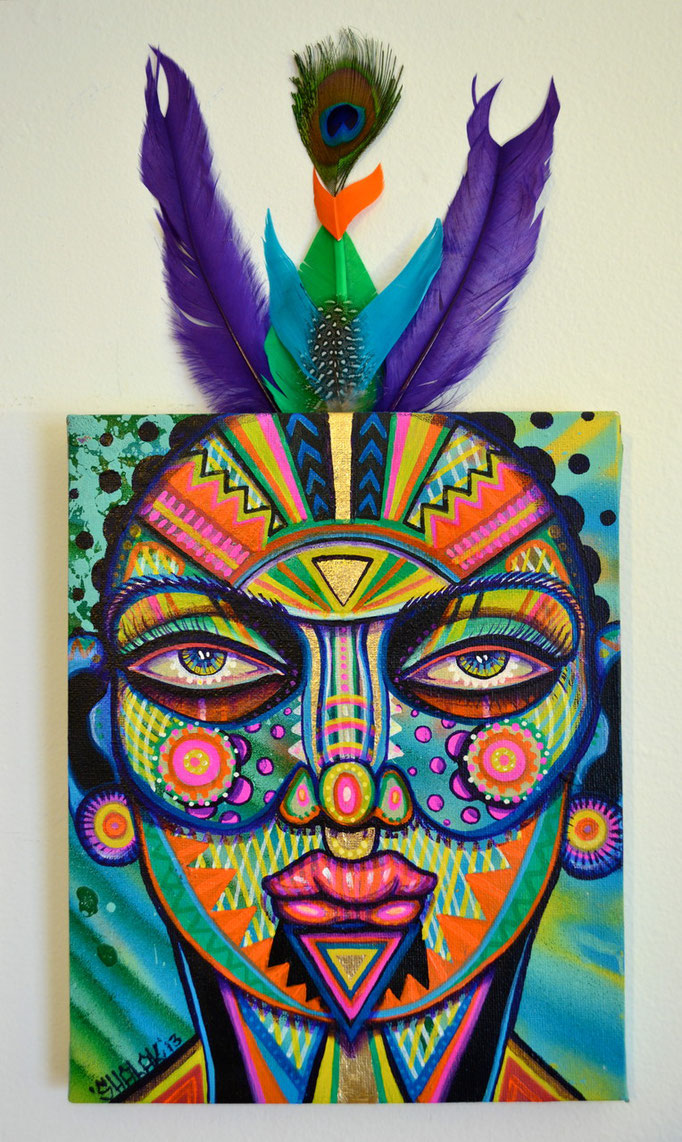 """""""Carita Colorida 1"""" By Shalak, Mixed Midia on Canvas, 2013, Canada (Sold to Private Collector - Sweden)"""