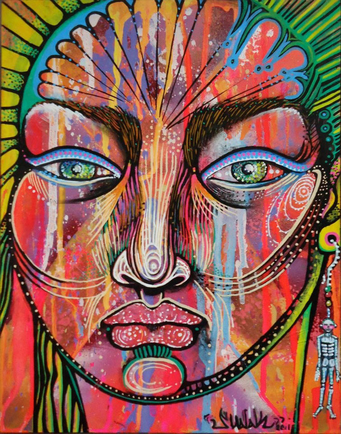 """""""Portrait"""" by Shalak. Mixed media. 2011.  (Sold to Private Collector -Madrid, Spain)"""