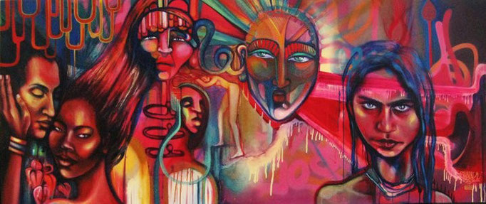 """""""Alma"""" by Shalak. Spray paint and acrylic on canvas (6ft x 2.5ft).  2009   (Sold to Private Collector - Canada)"""
