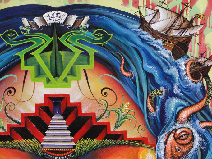 """Detail from """"Las Americas""""  By Shalak.  Mixed midia on Canvas. 2013   (Available for exhibition only - Canada)"""