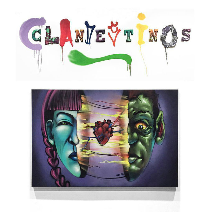 """""""Clandestinos Amor"""" Spraypaint on Canvas, 2015 (On Exhibit at Artscape Regent Park 3rd floor, Toronto, Canada.) For Inquiries please contact Artist directly."""