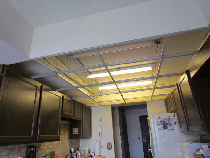 Removed ceiling grid and light fixtures