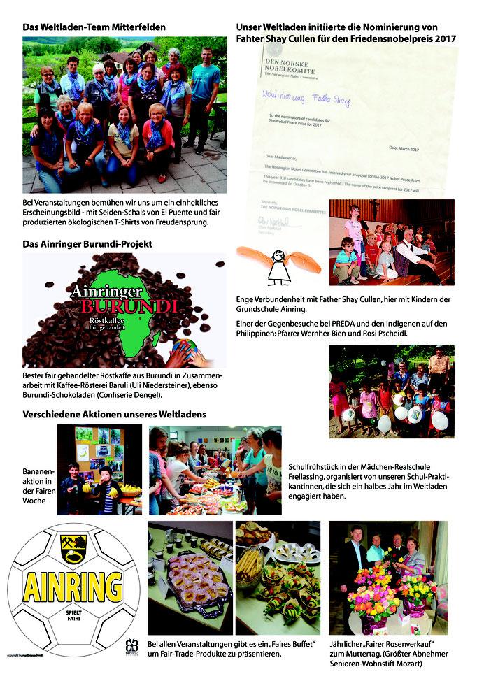 Verschiedene Engagements des Weltladens Mitterfelden